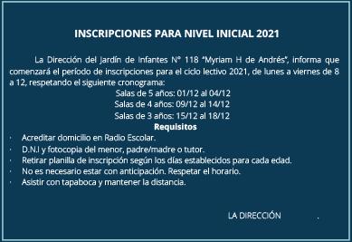 Inscripciones Jardin 118