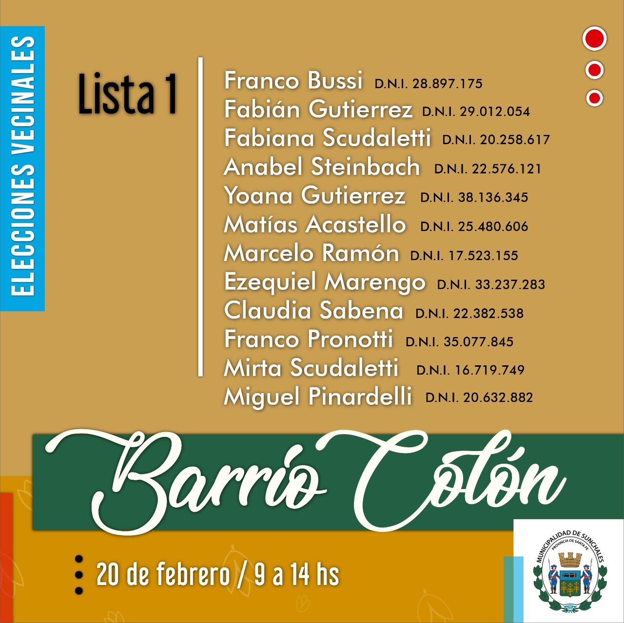 Lista 1 Colón